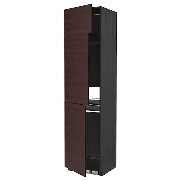 METOD High cab f fridge/freezer w 3 doors, black Askersund/dark brown ash effect, 60x60x240 cm