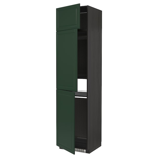 METOD High cab f fridge/freezer w 3 doors, black/Bodbyn dark green, 60x60x240 cm