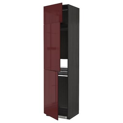 METOD High cab f fridge/freezer w 3 doors, black Kallarp/high-gloss dark red-brown, 60x60x240 cm