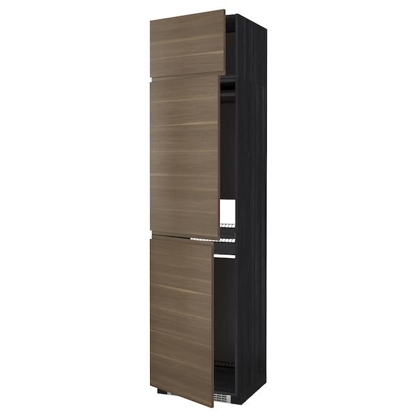 METOD High cab f fridge/freezer w 3 doors, black/Voxtorp walnut effect, 60x60x240 cm