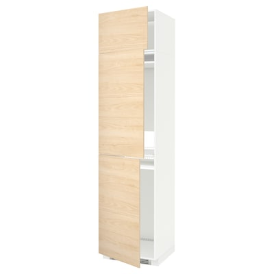 METOD High cab f fridge/freezer w 3 doors, white/Askersund light ash effect, 60x60x240 cm