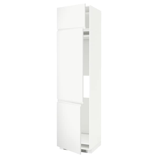 METOD High cab f fridge/freezer w 3 doors, white/Voxtorp matt white, 60x60x240 cm