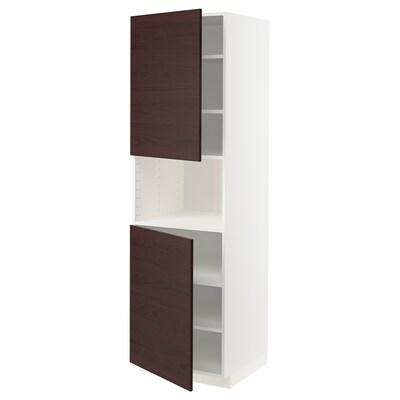 METOD High cab f micro w 2 doors/shelves, white Askersund/dark brown ash effect, 60x60x200 cm