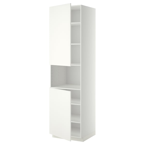METOD High cab f micro w 2 doors/shelves, white/Häggeby white, 60x60x220 cm