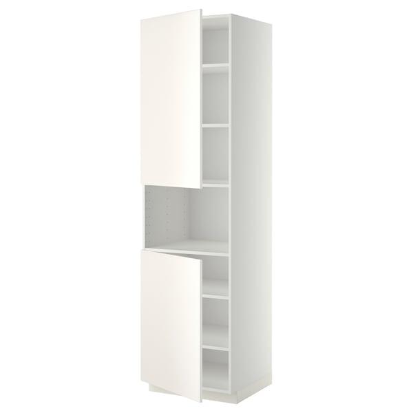 METOD High cab f micro w 2 doors/shelves, white/Veddinge white, 60x60x220 cm