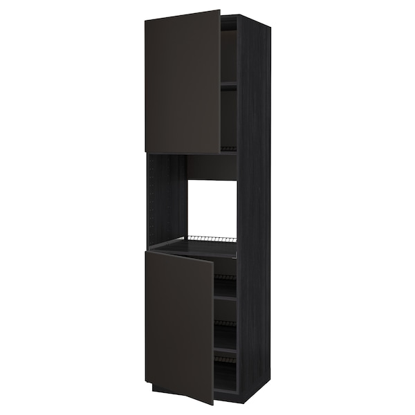 METOD High cab f oven w 2 doors/shelves, black/Kungsbacka anthracite, 60x60x220 cm