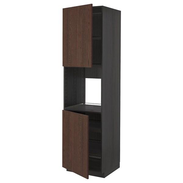 METOD High cab f oven w 2 doors/shelves, black/Sinarp brown, 60x60x220 cm