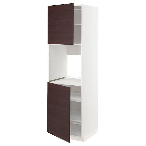 METOD High cab f oven w 2 doors/shelves, white Askersund/dark brown ash effect, 60x60x200 cm