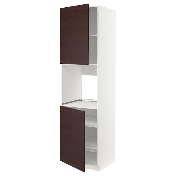 METOD High cab f oven w 2 doors/shelves, white Askersund/dark brown ash effect, 60x60x220 cm