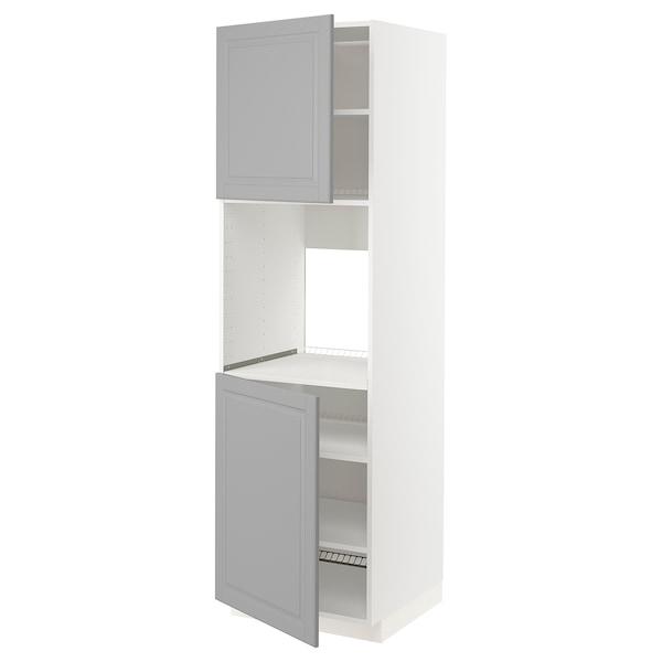 METOD High cab f oven w 2 doors/shelves, white/Bodbyn dark green, 60x60x200 cm