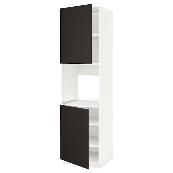 METOD High cab f oven w 2 doors/shelves, white/Kungsbacka anthracite, 60x60x220 cm