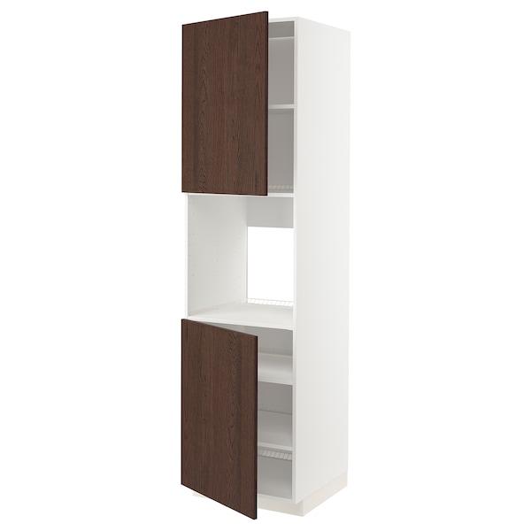 METOD High cab f oven w 2 doors/shelves, white/Sinarp brown, 60x60x220 cm
