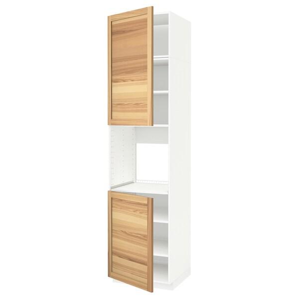 METOD High cab f oven w 2 doors/shelves, white/Torhamn ash, 60x60x240 cm