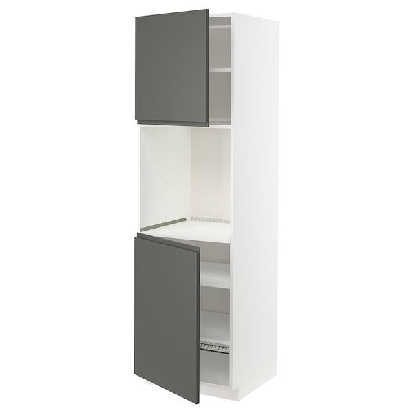 METOD High cab f oven w 2 doors/shelves, white/Voxtorp dark grey, 60x60x200 cm