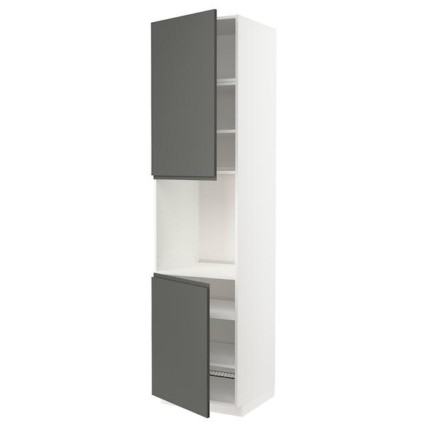 METOD High cab f oven w 2 doors/shelves, white/Voxtorp dark grey, 60x60x240 cm