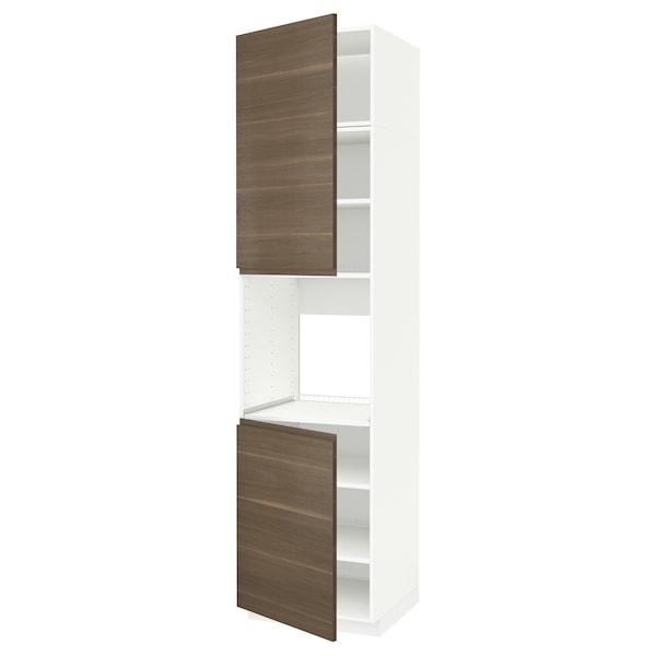 METOD High cab f oven w 2 doors/shelves, white/Voxtorp walnut effect, 60x60x240 cm