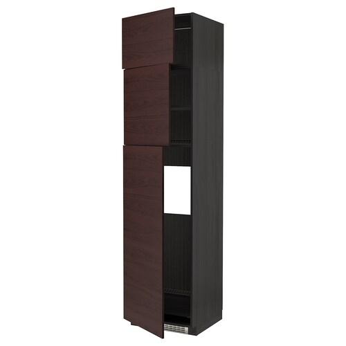 METOD high cab for fridge with 3 doors black Askersund/dark brown ash effect 60.0 cm 61.6 cm 248.0 cm 60.0 cm 240.0 cm