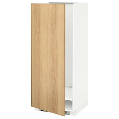 METOD High cabinet for fridge/freezer, white/Ekestad oak, 60x60x140 cm