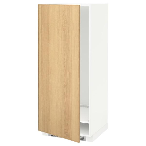 METOD High cabinet for fridge/freezer, white/Ekestad oak, 60x60x140 cm