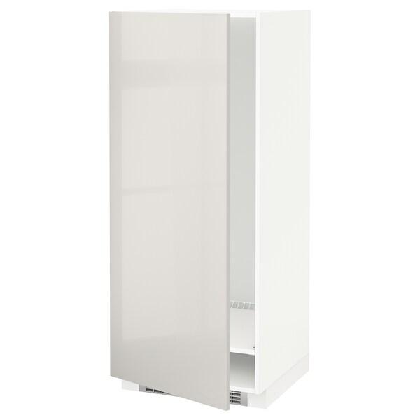METOD High cabinet for fridge/freezer, white/Ringhult light grey, 60x60x140 cm