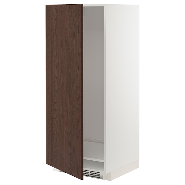METOD High cabinet for fridge/freezer, white/Sinarp brown, 60x60x140 cm