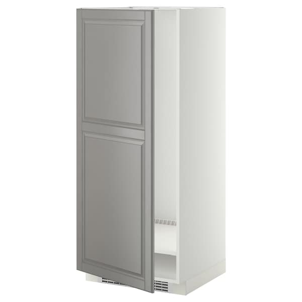 METOD high cabinet for fridge/freezer white/Bodbyn grey 60.0 cm 61.9 cm 148.0 cm 60.0 cm 140.0 cm