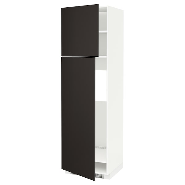 METOD High cabinet for fridge w 2 doors, white/Kungsbacka anthracite, 60x60x200 cm