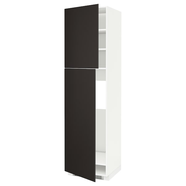 METOD High cabinet for fridge w 2 doors, white/Kungsbacka anthracite, 60x60x220 cm