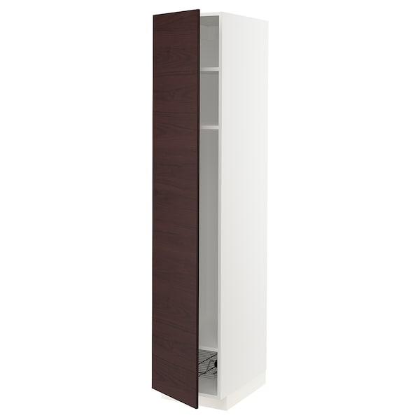 METOD High cabinet w shelves/wire basket, white Askersund/dark brown ash effect, 40x60x200 cm