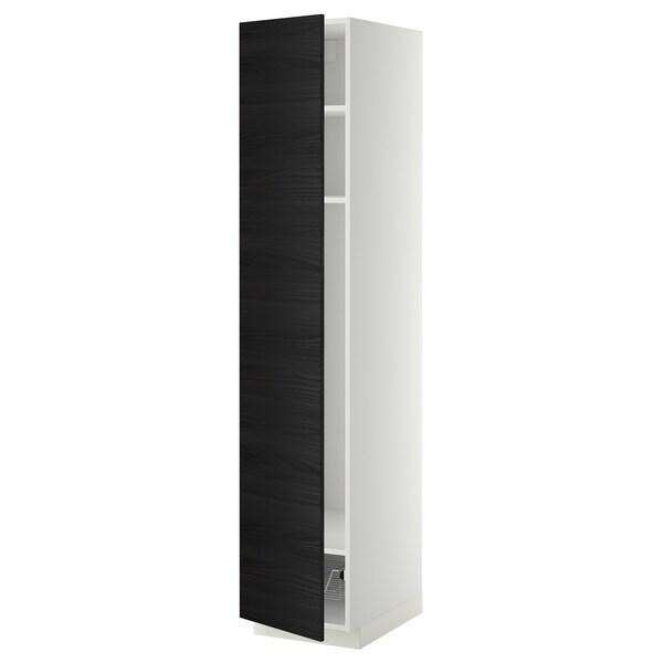 METOD high cabinet w shelves/wire basket white/Tingsryd black 40.0 cm 61.6 cm 208.0 cm 60.0 cm 200.0 cm