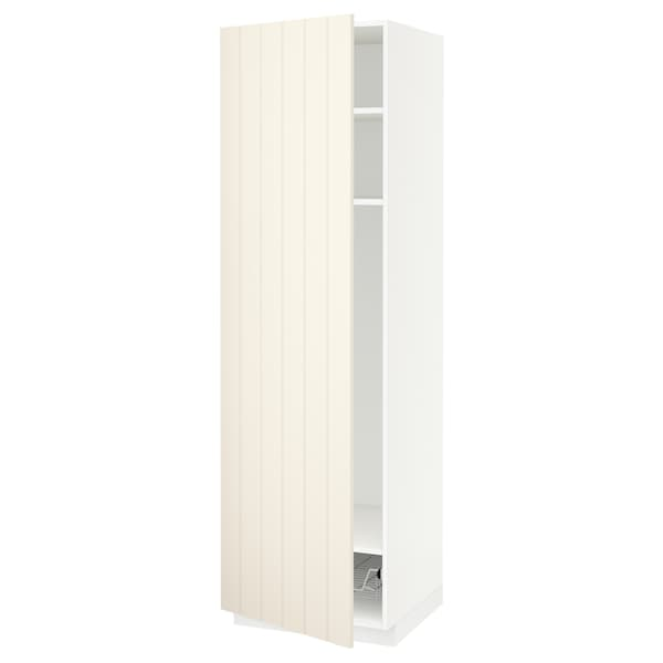 METOD high cabinet w shelves/wire basket white/Hittarp off-white 60.0 cm 61.8 cm 208.0 cm 60.0 cm 200.0 cm
