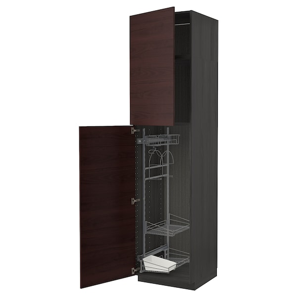 METOD High cabinet with cleaning interior, black Askersund/dark brown ash effect, 60x60x240 cm
