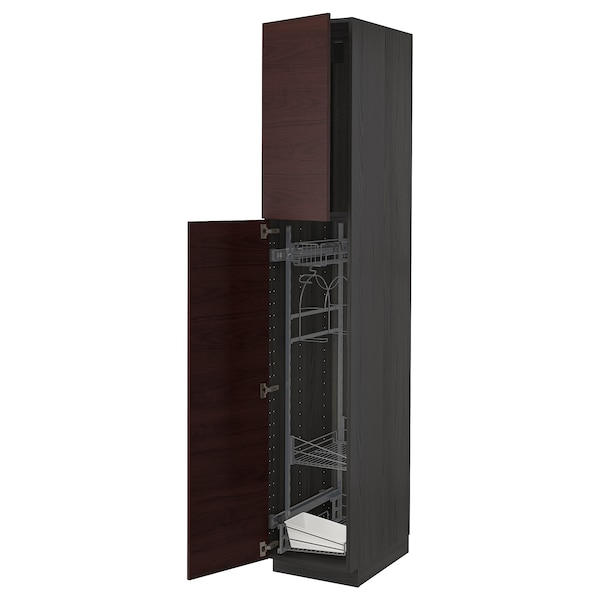 METOD High cabinet with cleaning interior, black Askersund/dark brown ash effect, 40x60x220 cm