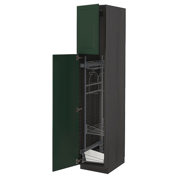 METOD High cabinet with cleaning interior, black/Bodbyn dark green, 40x60x200 cm