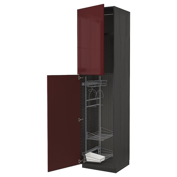 METOD High cabinet with cleaning interior, black Kallarp/high-gloss dark red-brown, 60x60x240 cm