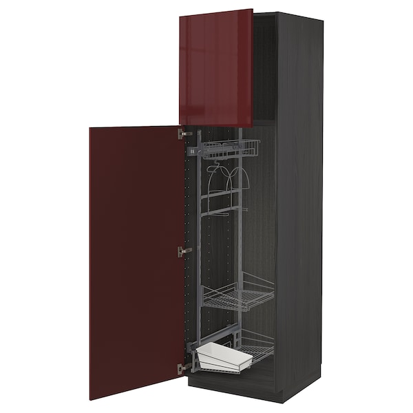 METOD High cabinet with cleaning interior, black Kallarp/high-gloss dark red-brown, 60x60x200 cm