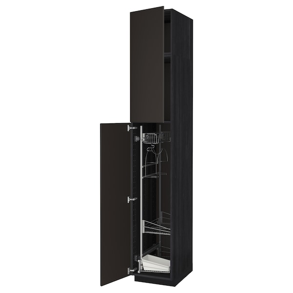 METOD High cabinet with cleaning interior, black/Kungsbacka anthracite, 40x60x240 cm