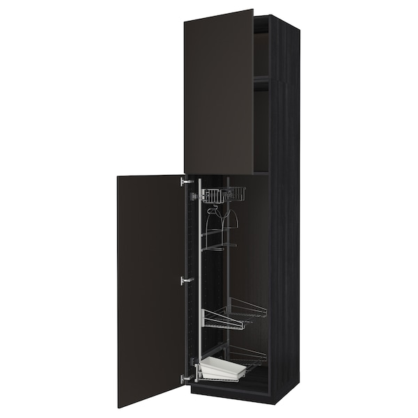 METOD High cabinet with cleaning interior, black/Kungsbacka anthracite, 60x60x240 cm