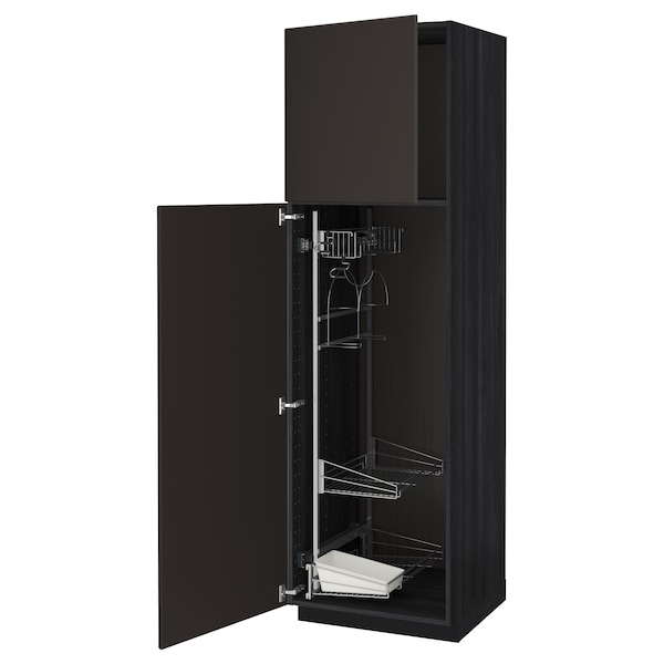METOD High cabinet with cleaning interior, black/Kungsbacka anthracite, 60x60x200 cm