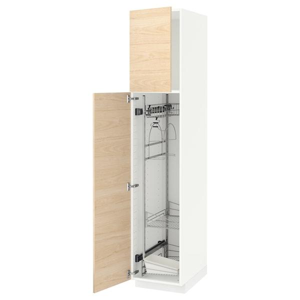 METOD خزانة مرتفعة مع أرفف مواد نظافة, أبيض/Askersund مظهر دردار خفيف, 40x60x200 سم