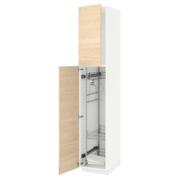 METOD High cabinet with cleaning interior, white/Askersund light ash effect, 40x60x220 cm