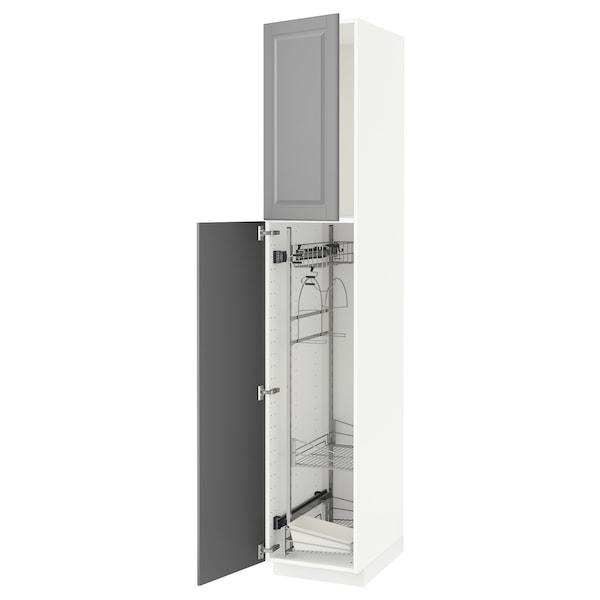 METOD خزانة مرتفعة مع أرفف مواد نظافة, أبيض/Bodbyn رمادي, 40x60x220 سم