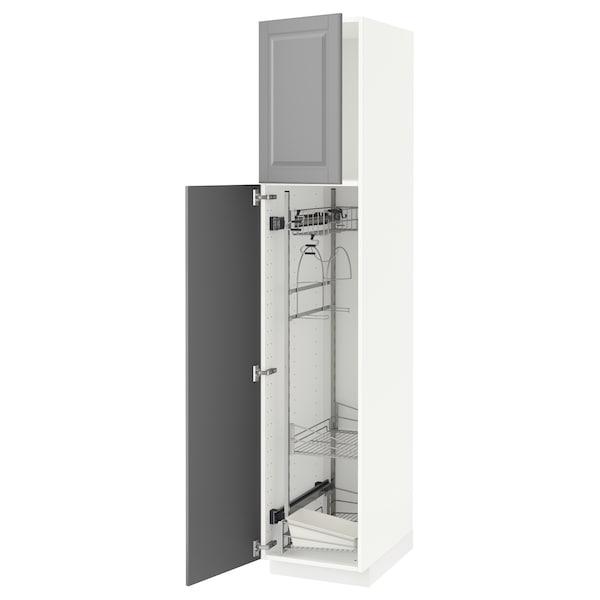 METOD خزانة مرتفعة مع أرفف مواد نظافة, أبيض/Bodbyn رمادي, 40x60x200 سم