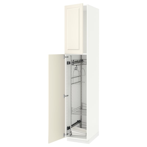 METOD High cabinet with cleaning interior, white/Bodbyn off-white, 40x60x220 cm
