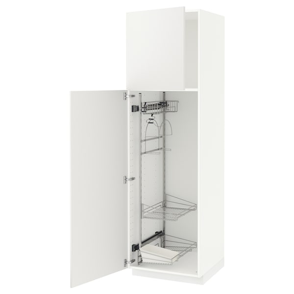 METOD High cabinet with cleaning interior, white/Häggeby white, 60x60x200 cm