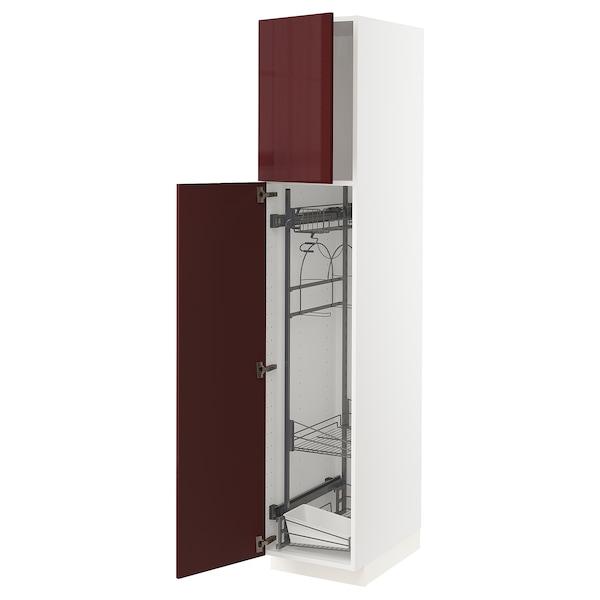 METOD خزانة مرتفعة مع أرفف مواد نظافة, أبيض Kallarp/لامع أحمر-بني غامق, 40x60x200 سم
