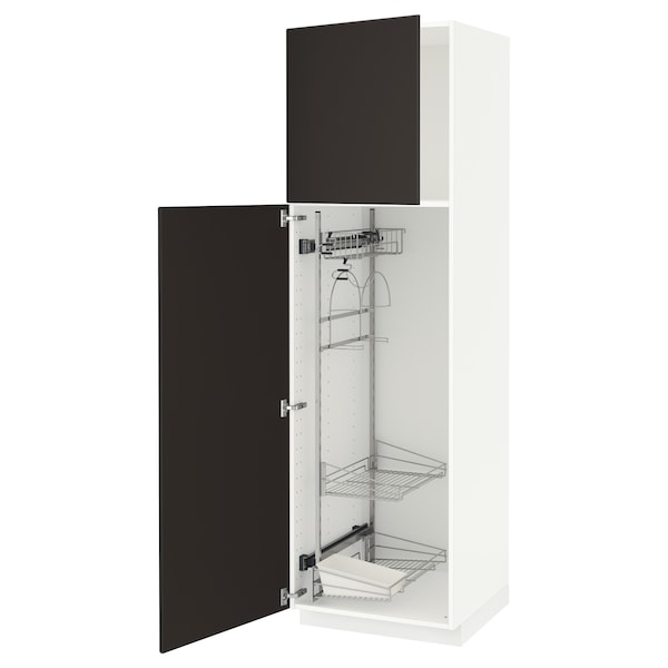 METOD High cabinet with cleaning interior, white/Kungsbacka anthracite, 60x60x200 cm