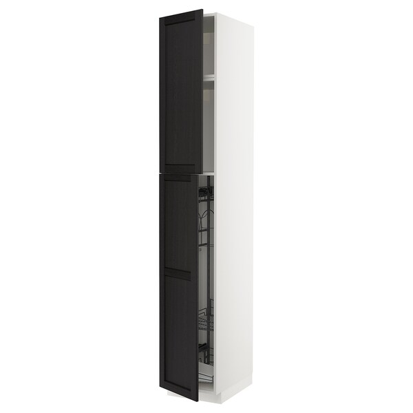 METOD High cabinet with cleaning interior, white/Lerhyttan black stained, 40x60x240 cm