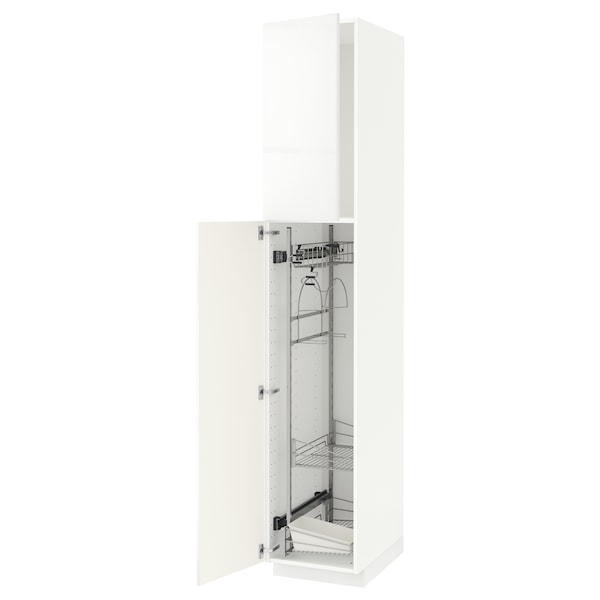 METOD High cabinet with cleaning interior, white/Ringhult white, 40x60x220 cm