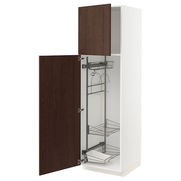 METOD High cabinet with cleaning interior, white/Sinarp brown, 60x60x200 cm